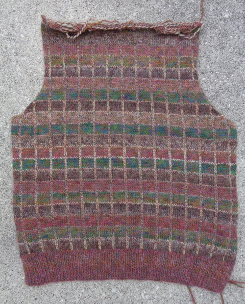 Skye vest by Martin Storey in Rowan Colourspun, knit by Deborah Cooke