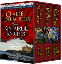 Kinfairlie Knights, a digital collection of three medieval Scottish first-in-series romances by Claire Delacroix