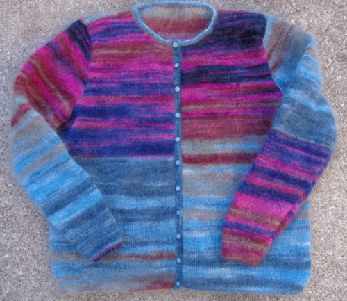 Hebrides cardigan in KSH Stripe Frost knit by Deborah Cooke