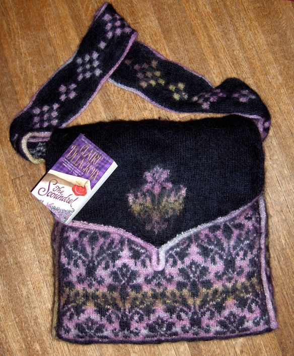 Damask bag knitted and felted by Deborah Cooke