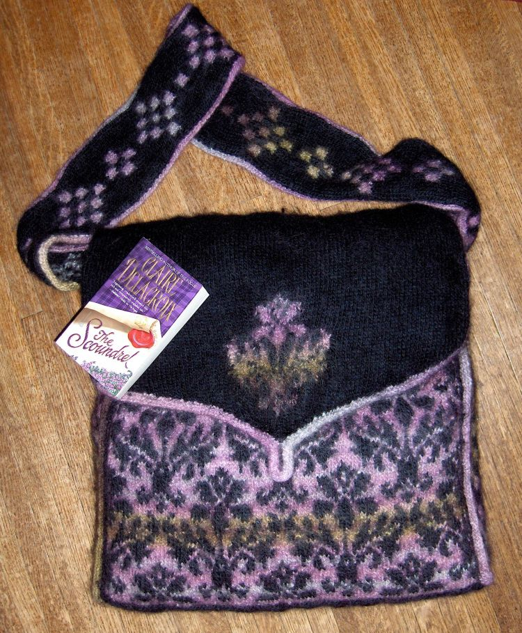 Damask bag knitted and felted by Deborah Cooke