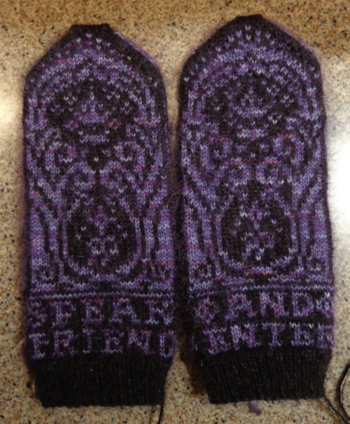 Gates o f Moria mittens knit by Deborah Cooke