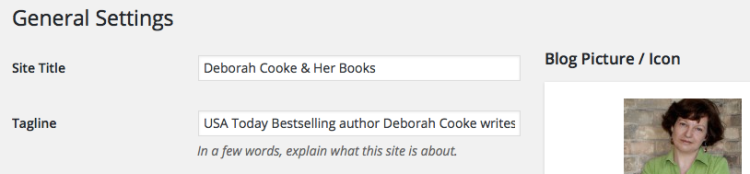 General Settings on Deborah Cooke's website on WordPress