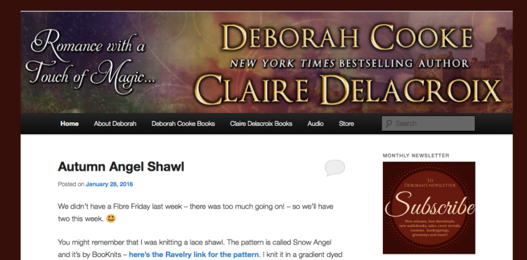 Deborah Cooke's website at full width