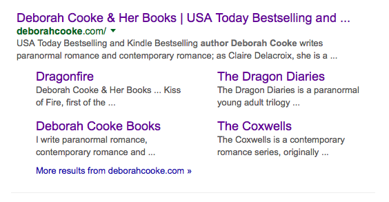 Deborah Cooke's website on Google SERP