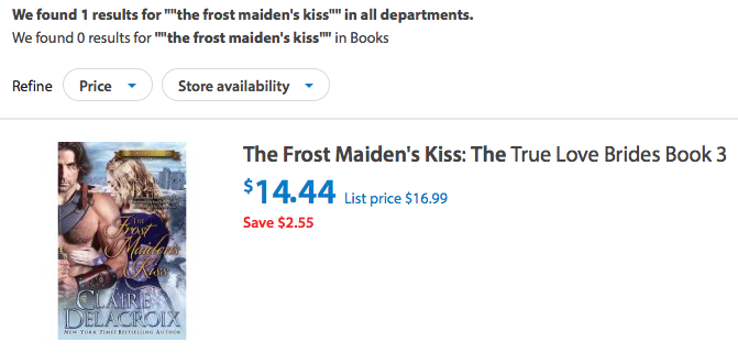 The Frost Maiden's Kiss by Claire Delacroix at Walmart