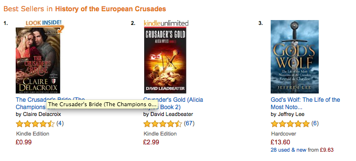 The Crusader's Bride at Amazon UK on October 3, 2016
