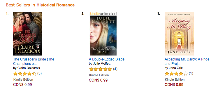 The Crusader's Bride at Amazon CA on October 3, 2016