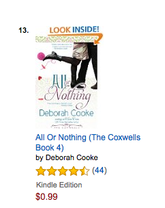 All or Nothing on the Contemporary romance bestseller list at Amazon.com on October 8 2016