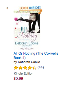 All or Nothing on the Romantic Comedy bestseller list at Amazon.com on October 8 2016