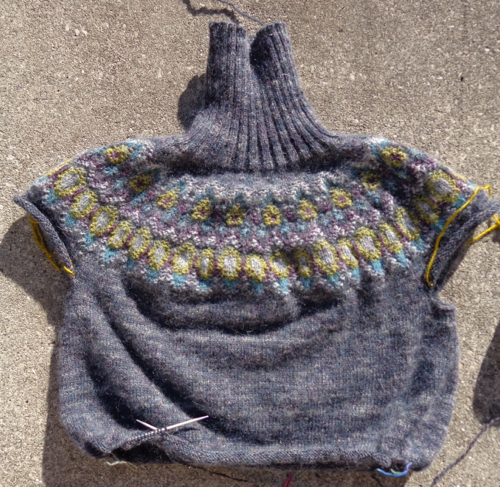 Bohus Inspired Pullover knitted by Deborah Cooke in Rowan Colourspun