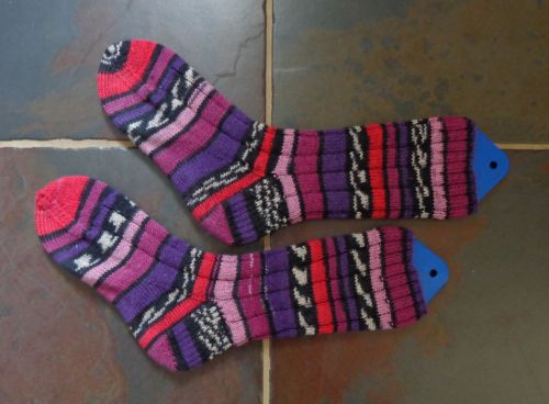 Socks knit by Deborah Cooke in Kroy Sock Jacquard