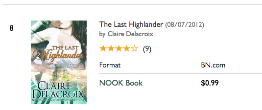 The Last Highlander by Claire Delacroix, #8 on the bestselling romance list at Barnes and Noble on November 7, 2016