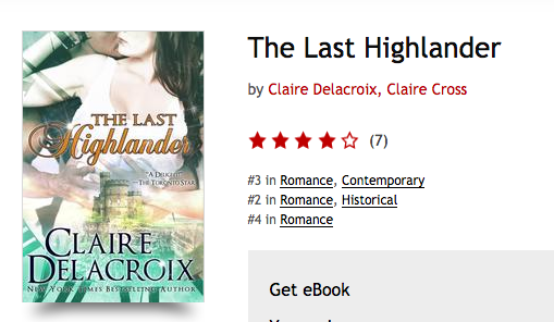 The Last Highlander by Claire Delacroix on the bestseller list at Kobo on November 7, 2016
