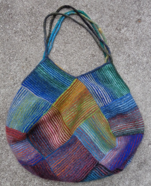 Striped garter stich bag in Noro Kureyon Sock knit by Deborah Cooke
