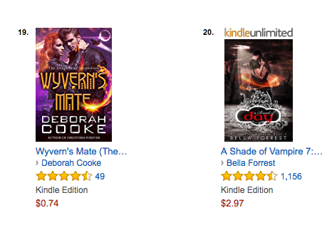Wyvern's Mate on the bestseller list for Werewolves and Shifters in PNR at Amazon.com