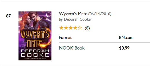 Wyvern's Mate on the Nook Bestseller list at B&N on January 7, 2017