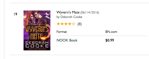 Wyvern's Mate on the Nook Romance bestseller list on January 7, 2017