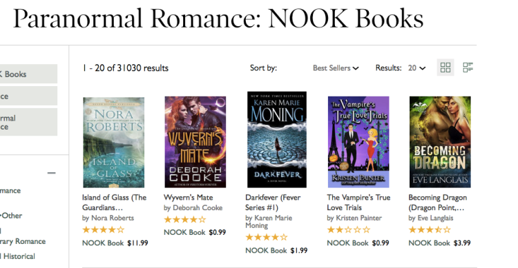 Wyvern's Mate on the Nook Paranormal romance bestseller list on January 7, 2017