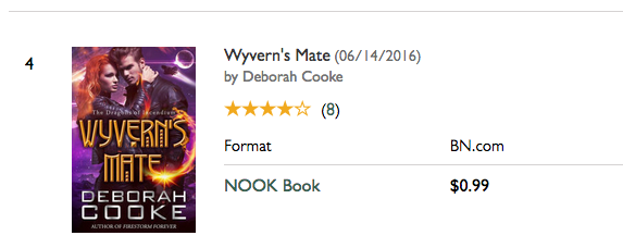 Wyvern's Mate on the SFF bestseller list at Nook on January 7, 2017