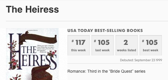 The Heiress by Claire Delacroix on the USA Today list