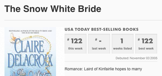 The Snow White Bride on the USA Today list