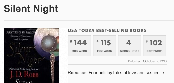 Silent Night anthology including a story by Claire Cross on the USA Today list