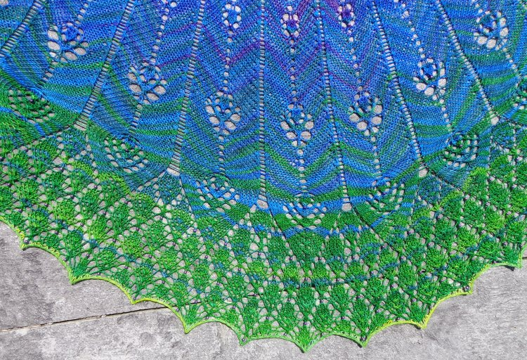 Peacock Fan shawl knit by Deborah Cooke