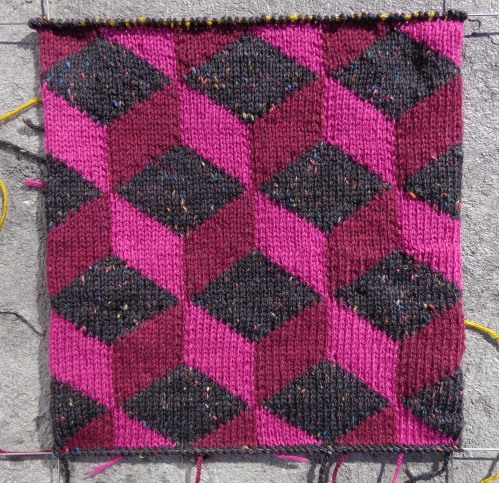 Kaffe Fassett's Tumbling Blocks knit by Deborah Cooke