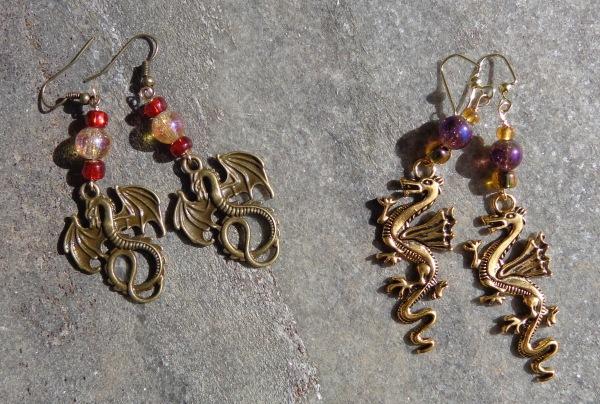 dragpn earrings made by Deborah Cooke