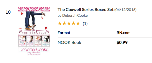 The Coxwells Boxed Set at #10 overall paid at Nook on June 15, 2017