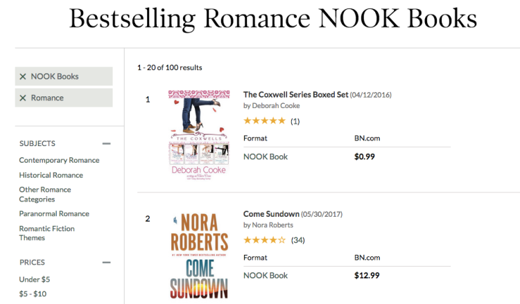 The Coxwells Boxed Set at #1 in romance in the Nook store on June 15, 2017