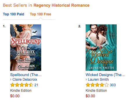 Spellbound, a Regency romance anthology, was #1 free in Regency romance at Amazon.com on July 5, 2017