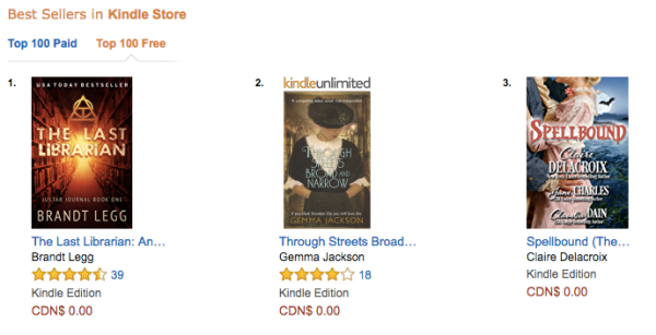 Spellbound, a Regency romance anthology, was #3 overall free at Amazon.ca on July 5, 2017