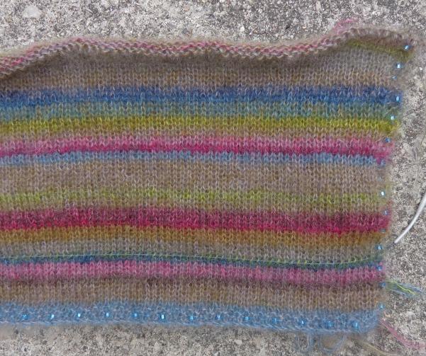 Earth Stripe Wrap in process, knit by Deborah Cooke