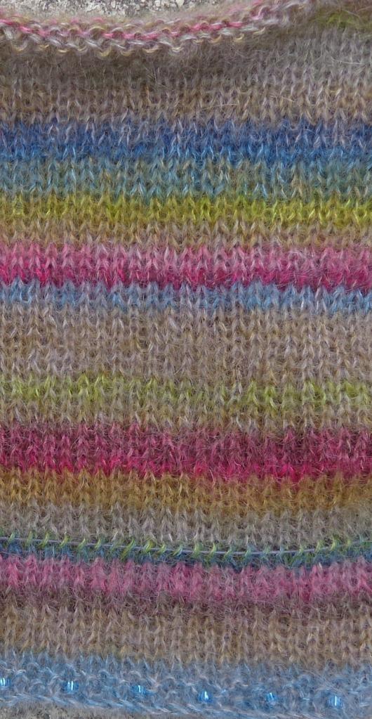 Earth stripe shawl detail - v1 knit by Deborah Cooke