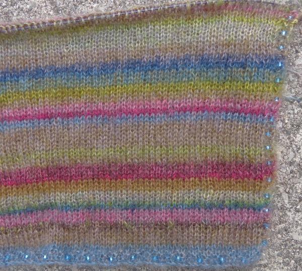 Earth Stripe Warp take 2, knit by Deborah Cooke