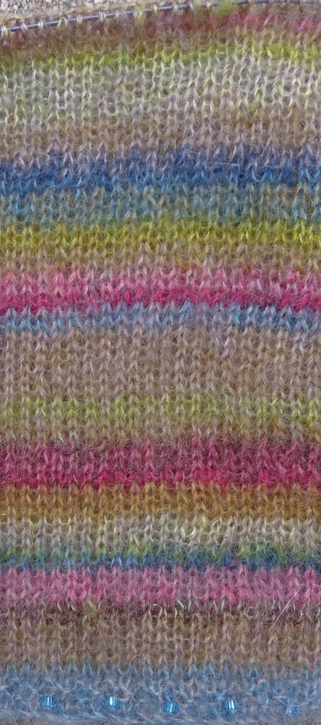 Earth stripe shawl detail - v2 knit by Deborah Cooke