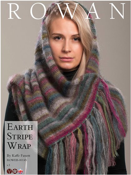 Updated version of the Earth Stripe Wrap by Rowan yarns, copyright Rowan Yarns 2017