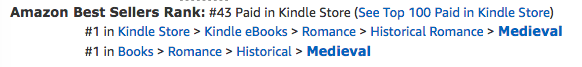 The Princess, a medieval romance by Claire Delacroix, at #43 overall in the Kindle store and #1 in Medieval Romance on August 26, 2017