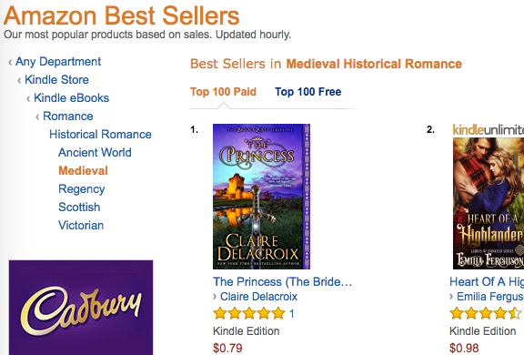 The Princess, a medieval romance by Claire Delacroix, at #1 in Medieval Romance on August 26, 2017