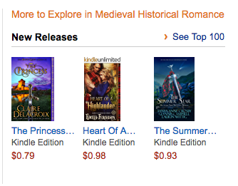 The Princess, a medieval romance by Claire Delacroix, at #1 in Hot New Releases in Medieval Romance in the Kindle store