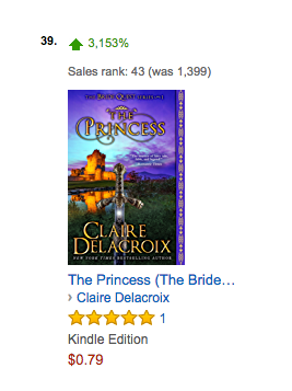 The Princess, a medieval romance by Claire Delacroix, at #43 overall in the Kindle store on August 26, 2017