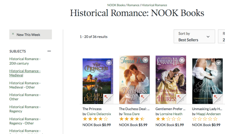 The Princess by Claire Delacroix at #1 in Historical Romance at the Nook store on August 26, 2017