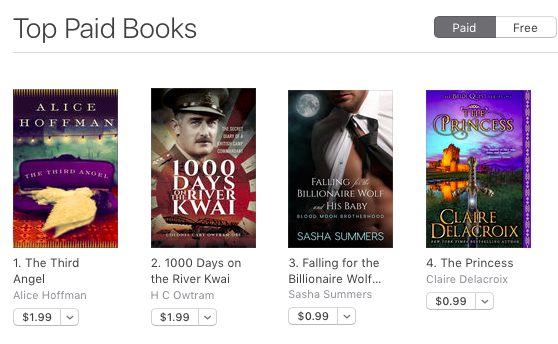 The Princess, a medieval romance by Claire Delacroix, at #4 bestselling in the iBooks store on August 26, 2017