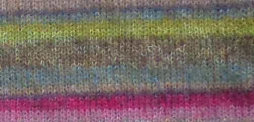Earth Stripe wrap detail, knit by Deborah Cooke