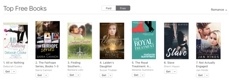 All or Nothing, a contemporary romance by Deborah Cooke, at #1 free in the iBooks store on September 8, 2017