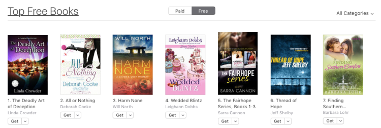 All or Nothing, a contemporary romance by Deborah Cooke, at #2 free overall in the iBooks store on September 8, 2017