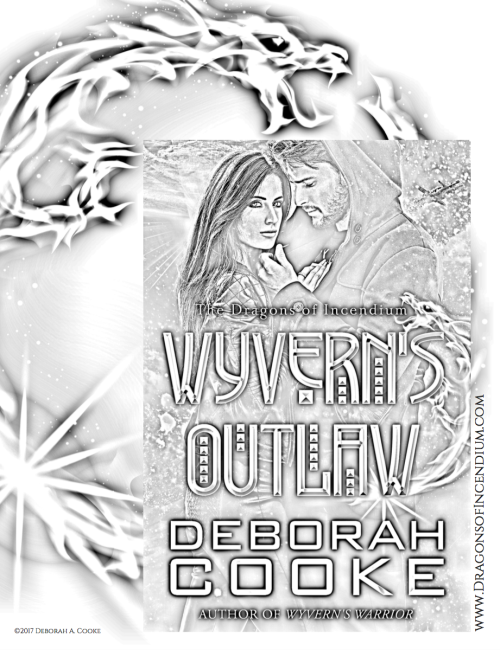Colouring page of Wyvern's Outlaw, a paranormal romance by Deborah Cooke, available for free download in Deborah's online store