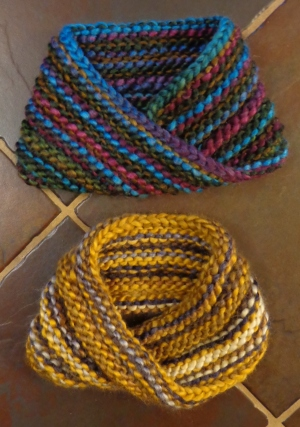 Two Mobius cowls knit by Deborah Cooke